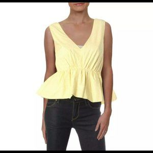 NWT Aqua Yellow & White Stripe Sleeveless Top - M